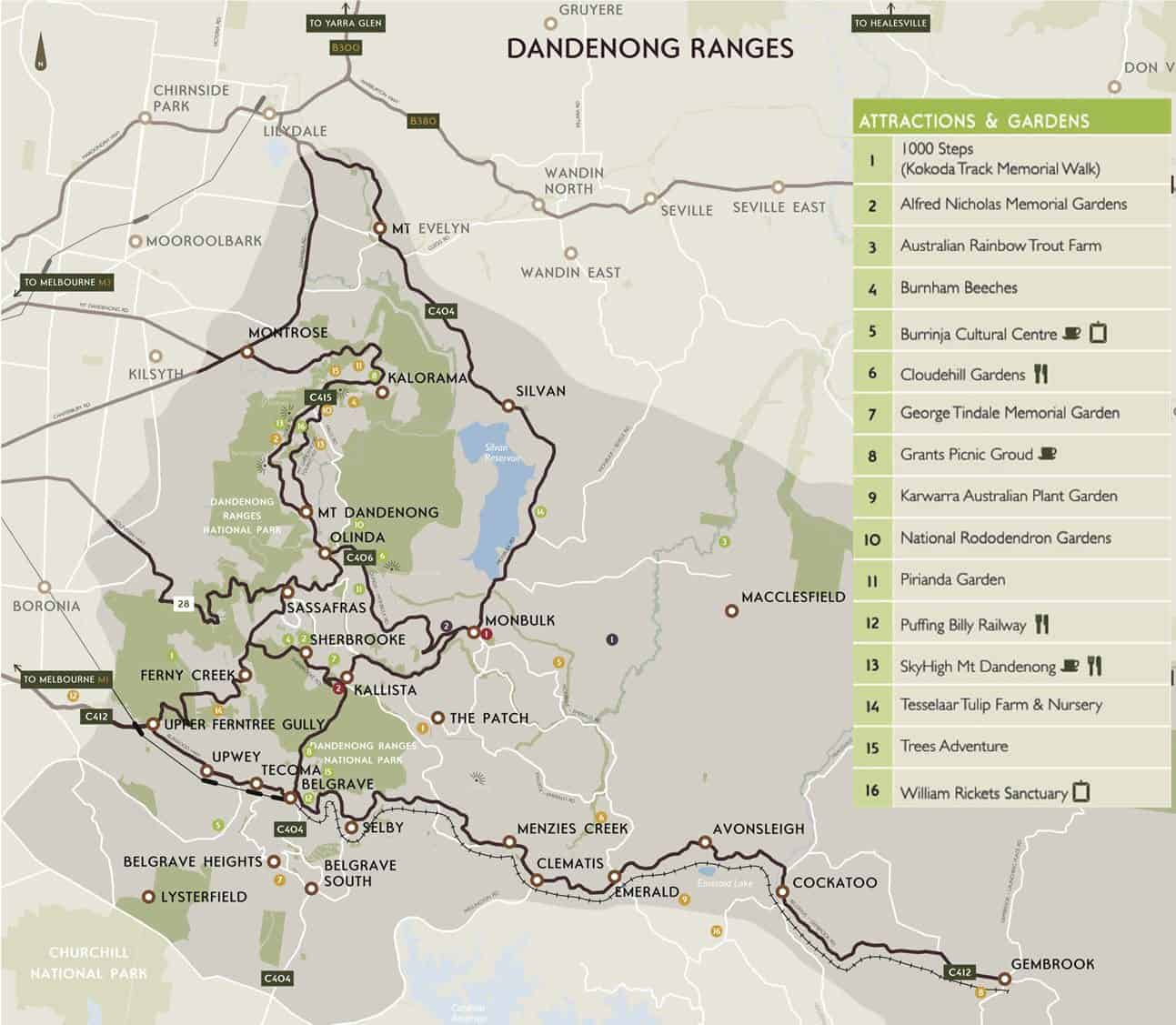 Dandenong Ranges Map Tourist and Route Map Melbourne – Melbourne Tourist Attractions Map